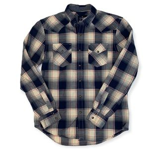 American Eagle Slim Fit Snap Front Plaid Shirt M